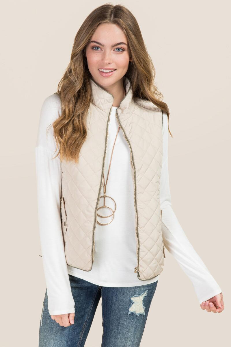 Leela Contrast Piping Puffer Vest