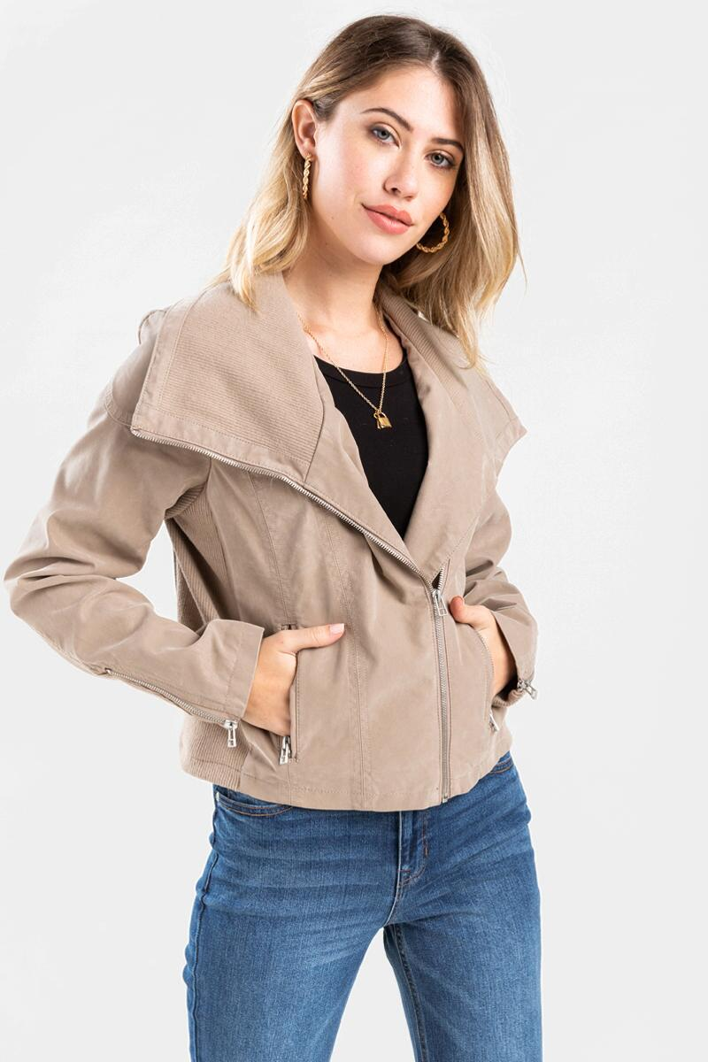 June Wide Lapel Moto Jacket-Taupe