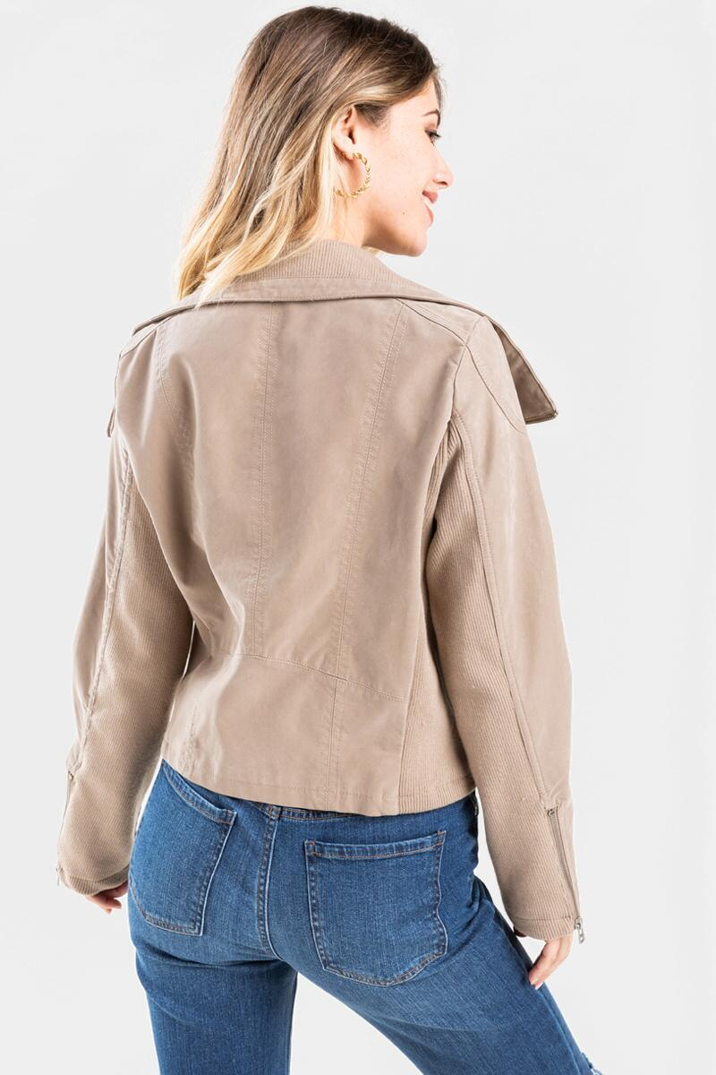 June Wide Lapel Moto Jacket-Taupe 4