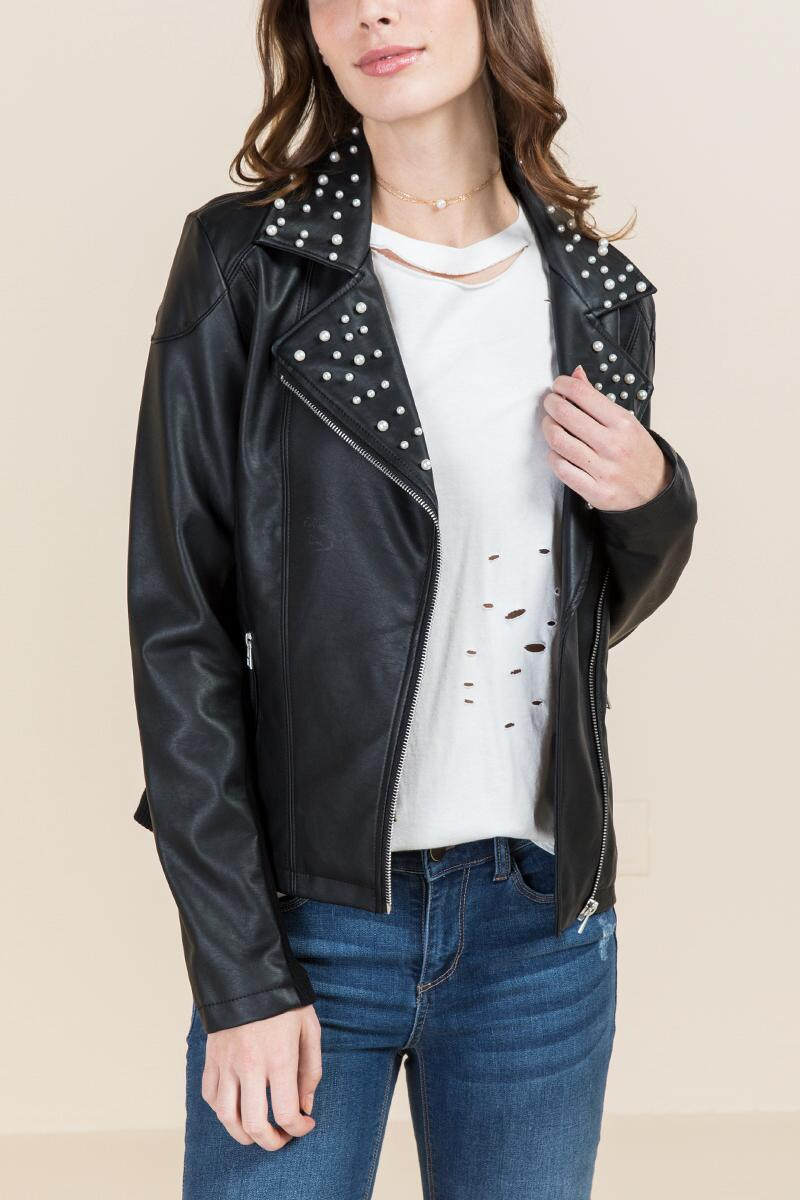 Makenna Pearl Collar Moto Jacket