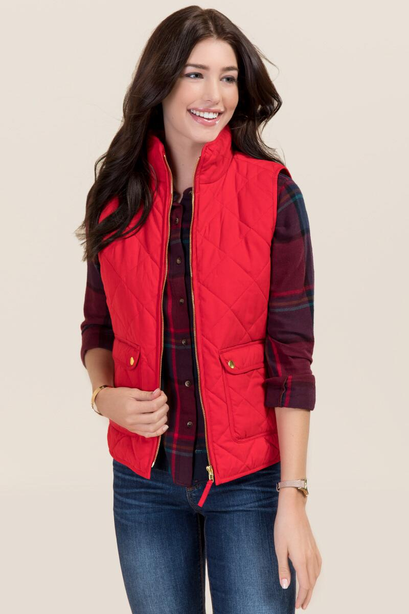 Everett Sueded Puffer Vest-  red-cl