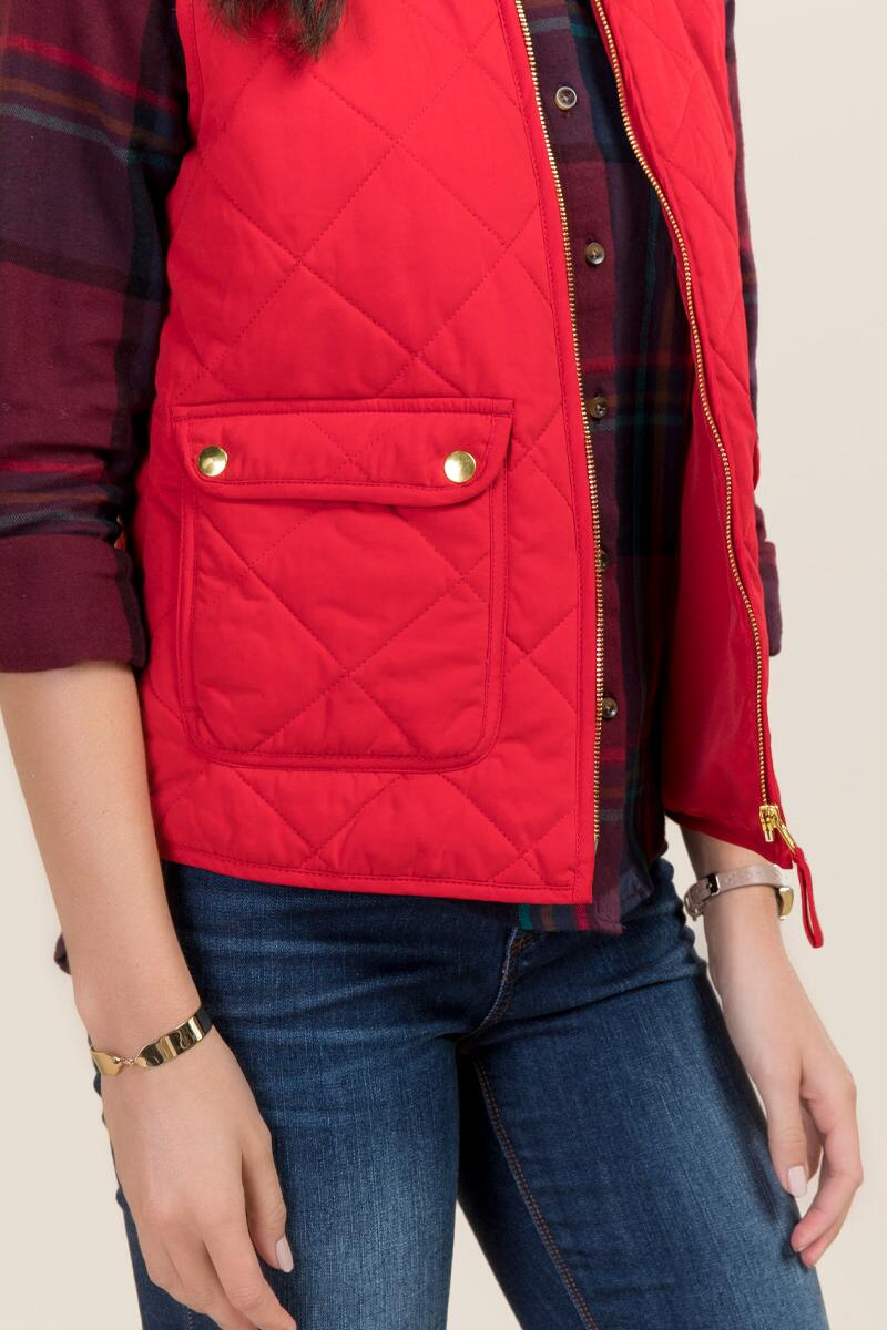 Everett Sueded Puffer Vest-  red-clalternate
