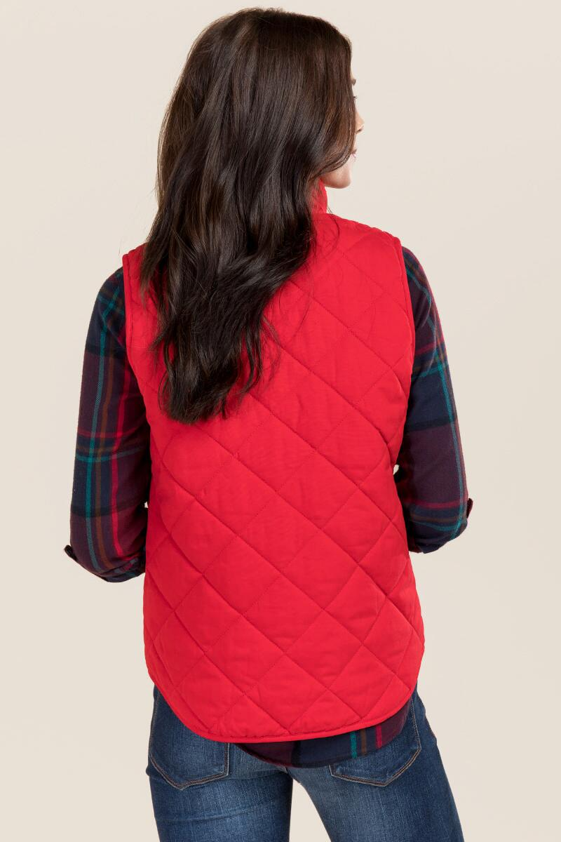 Everett Sueded Puffer Vest-  red-clback
