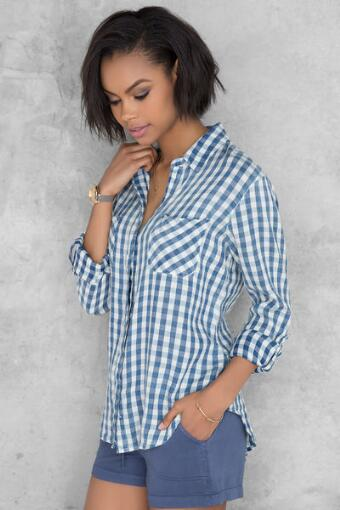 Lilah Gingham Buttoned Blouse