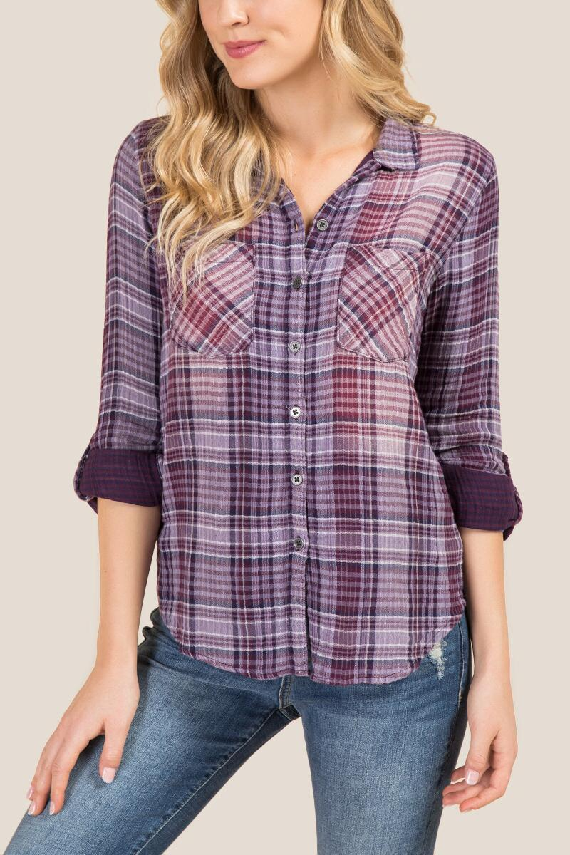 Sierra Button Back Plaid Top