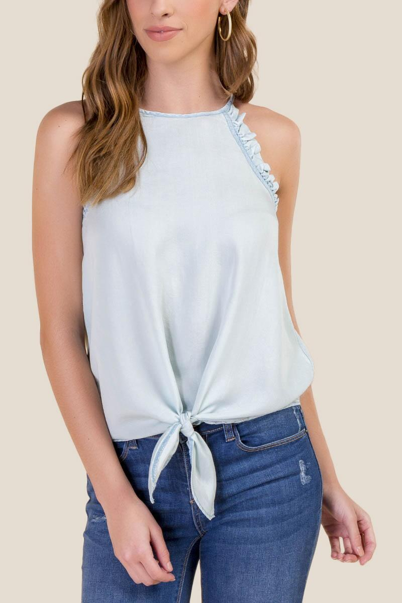 Kimmy Ruffle Tie Front Top