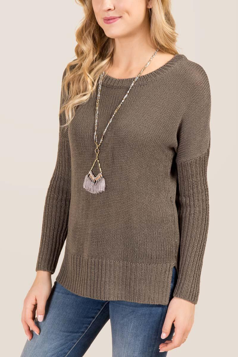 Kiri Shredded Back Pullover Sweater