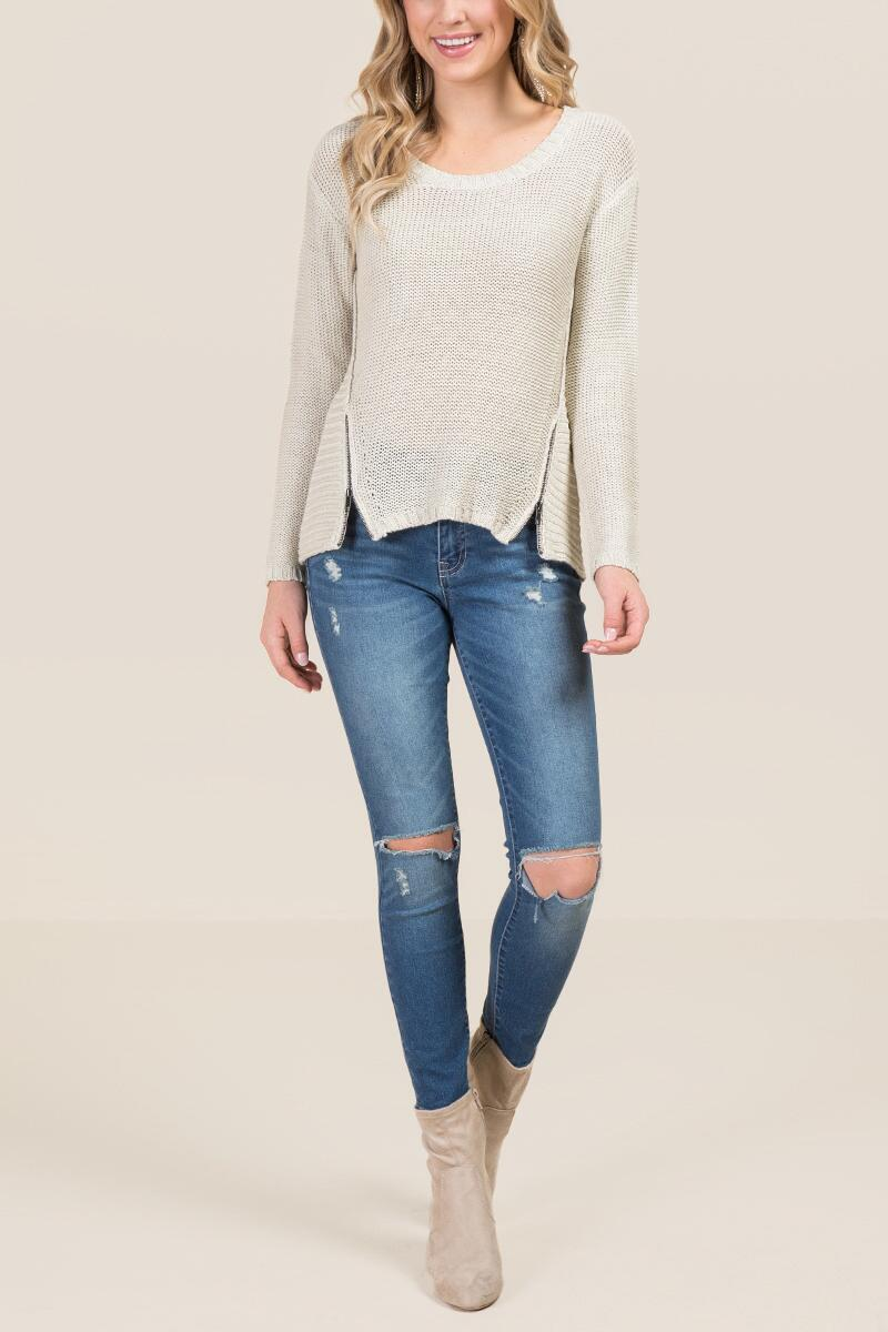 Rocco High Low Zipper Sweater-  taup-clmodel