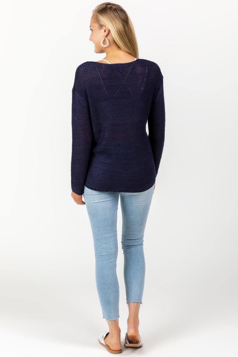 Desi Whip Stitch Sweater-navy-cl 2