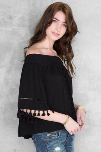 Willa Off-The-Shoulder Tassel Blouse