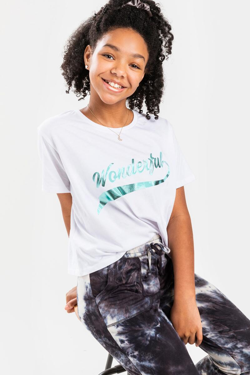 franki Wonderful Foil Lettering Tee for Girls-  white-cl