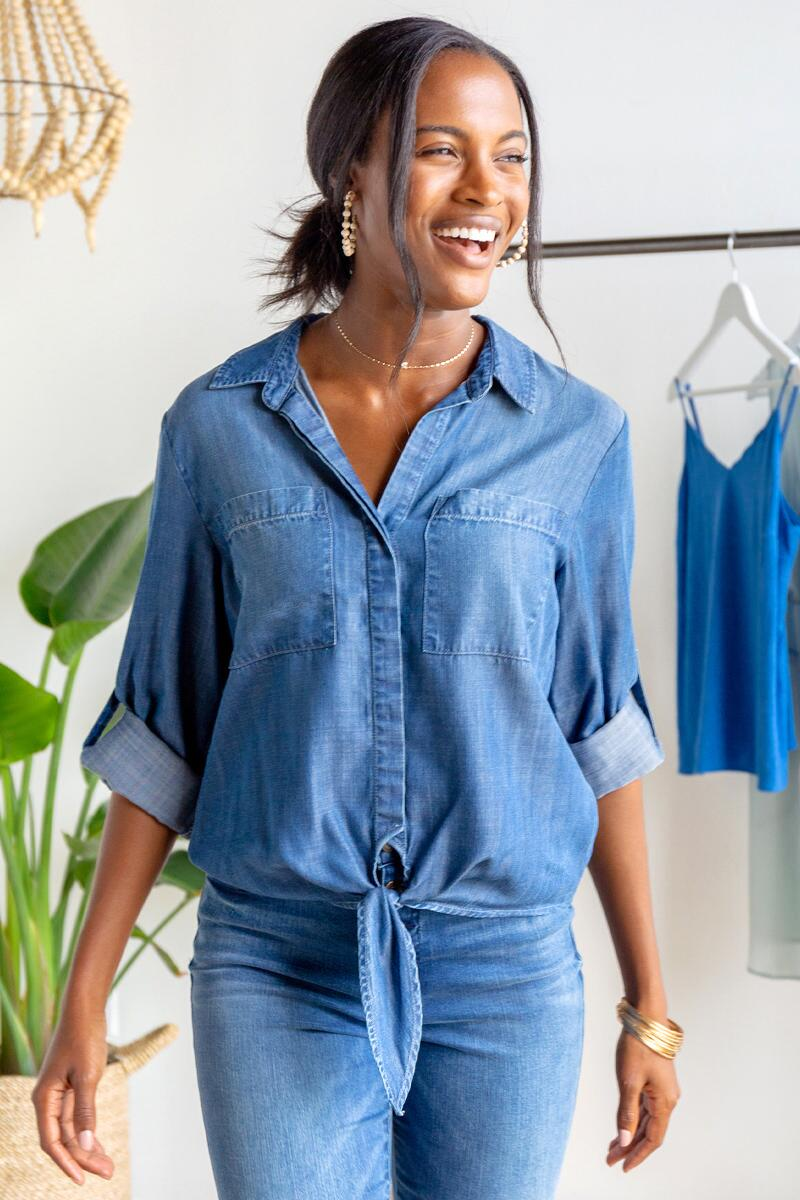 Lenny Double Pocket Button Down Top-Medium Wash