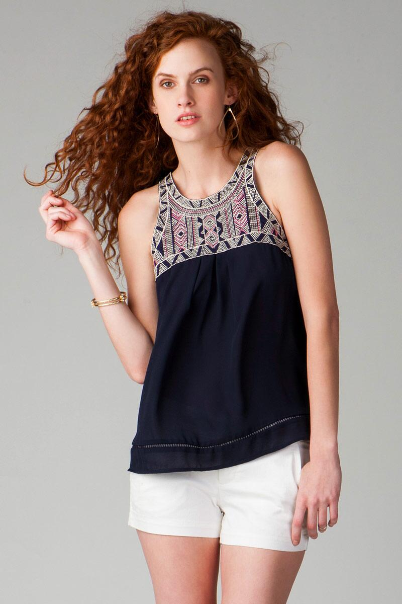 Anoka Embroidered Tank-  navy-cl