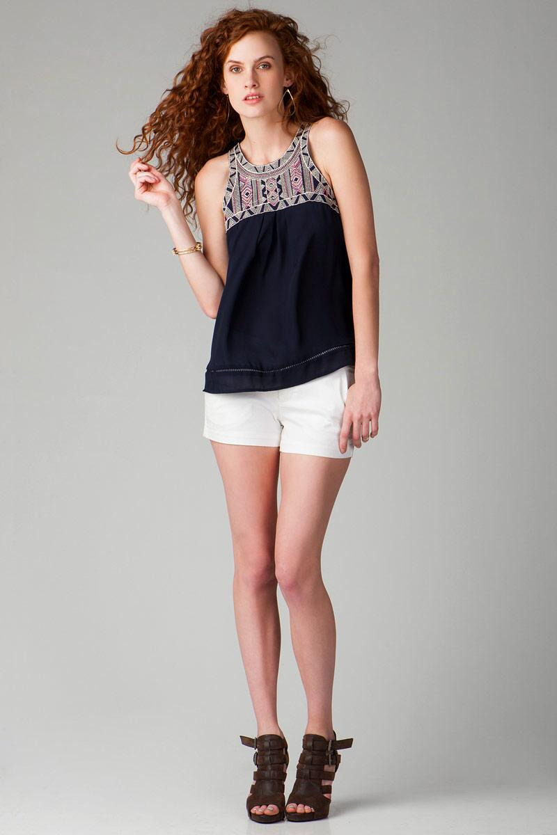 Anoka Embroidered Tank-  navy-clmodel