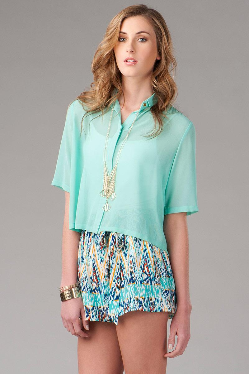 Sweetbriar Pleated Blouse-  mint-cl