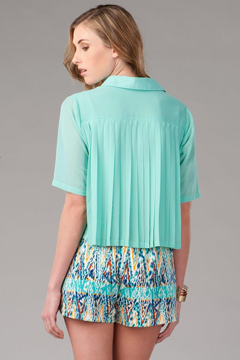 Sweetbriar Pleated Blouse-  mint-clback