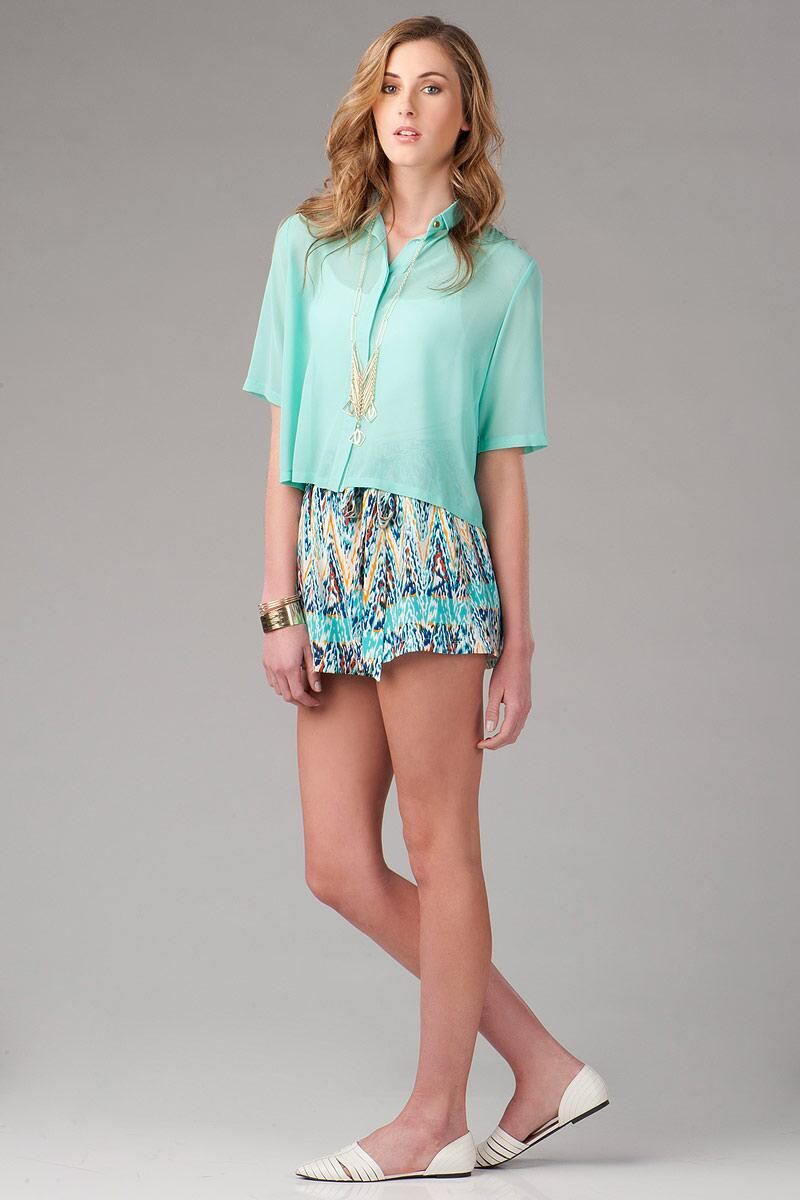 Sweetbriar Pleated Blouse-  mint-clmodel