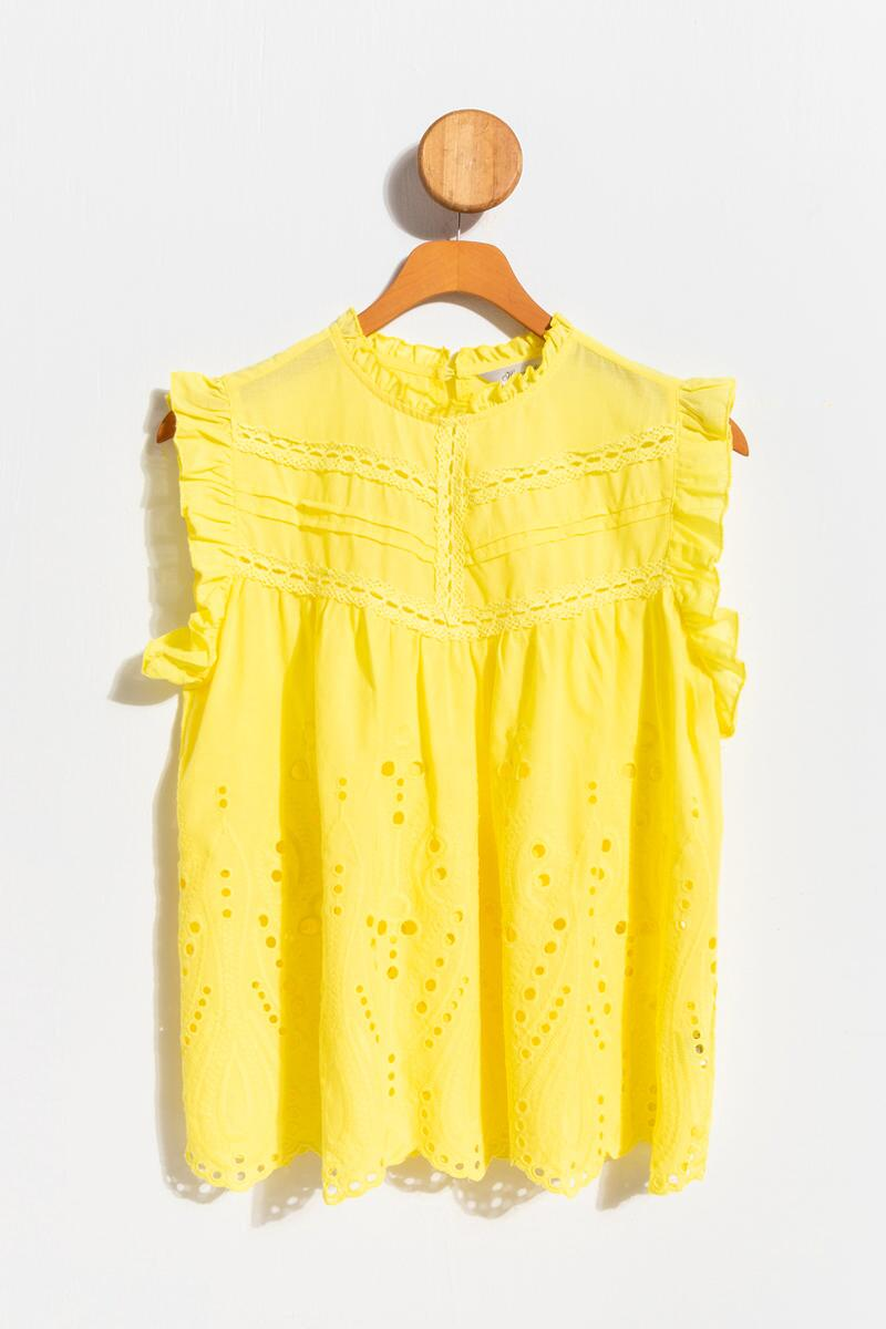Hardin Eyelet High Neck Tank Top-Yellow