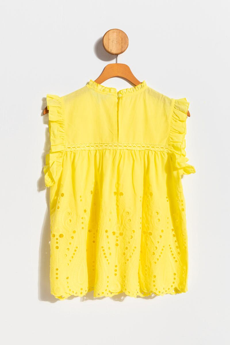 Hardin Eyelet High Neck Tank Top-Yellow 2