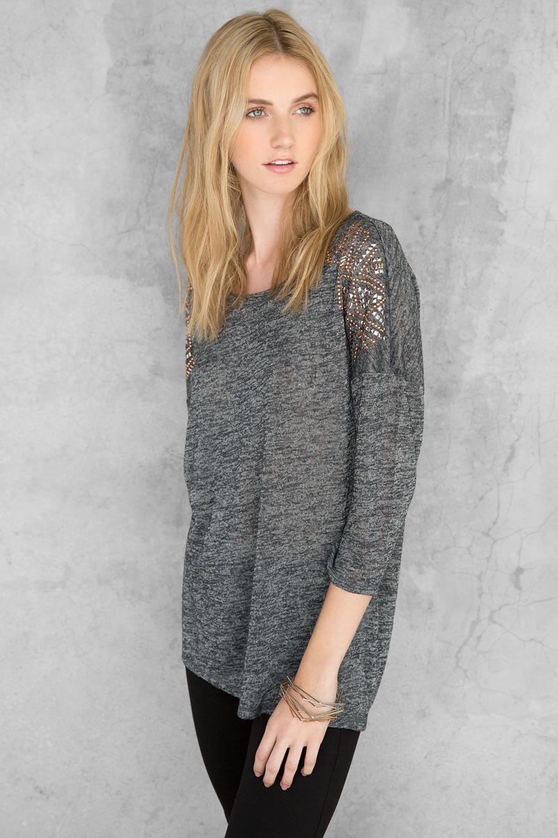 Brooklyn Embellished Tee-  gray-cl