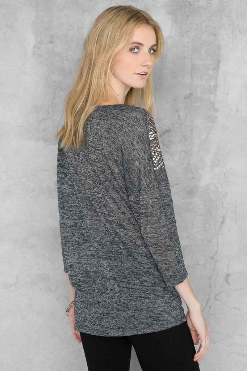 Brooklyn Embellished Tee-  gray-clback
