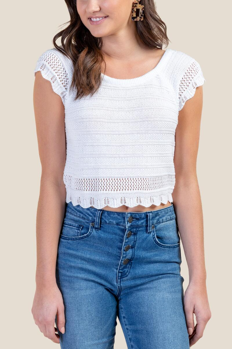 Rayna Scalloped Hem Sweater-  white-cl