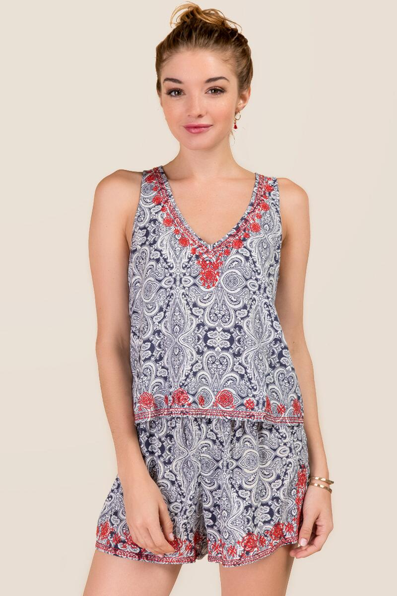 Danette Embroidered Paisley Tank