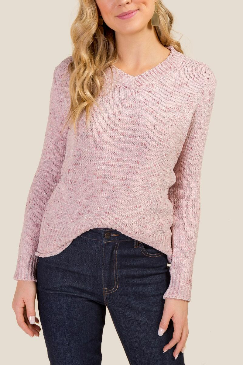 Ellie Chenille V Neck Sweater-  blush-cl