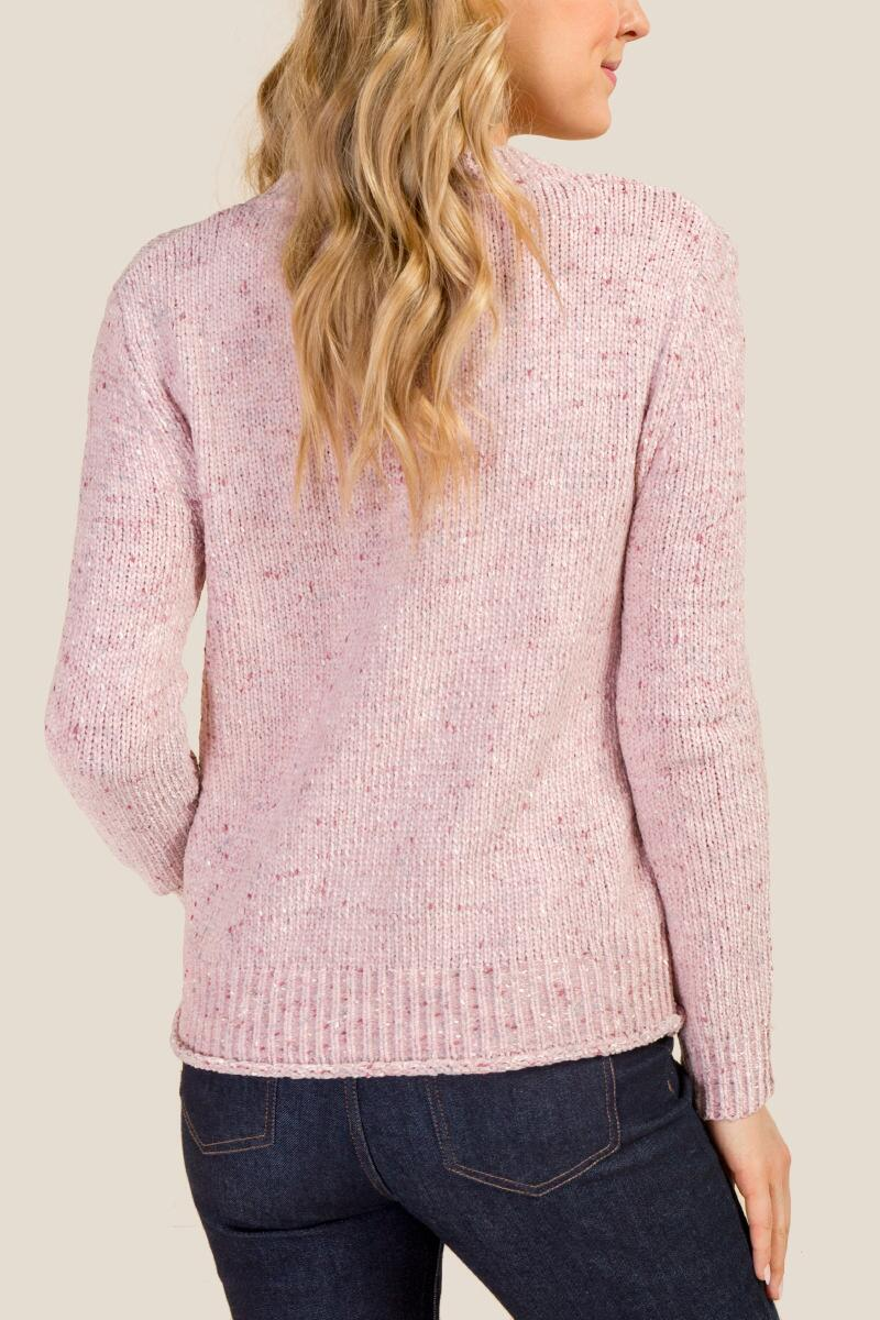 Ellie Chenille V Neck Sweater-  blush-cl2