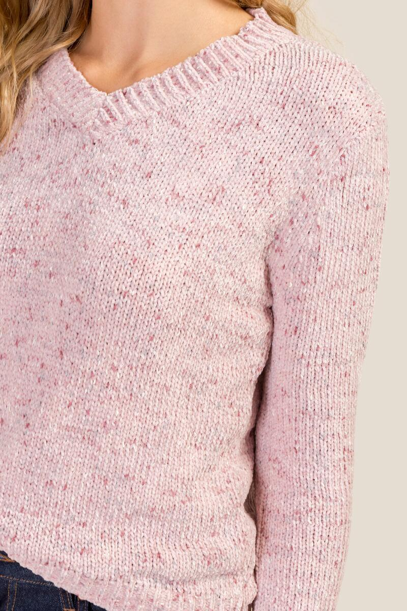 Ellie Chenille V Neck Sweater-  blush-cl3