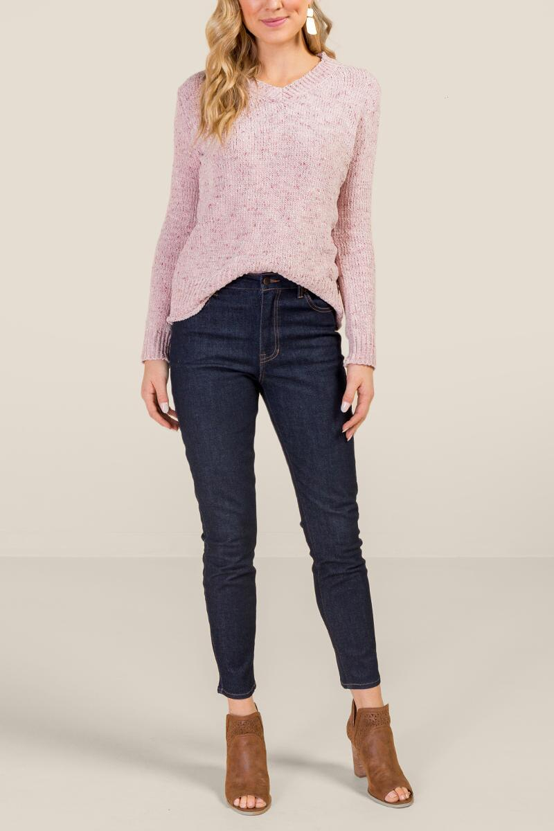 Ellie Chenille V Neck Sweater-  blush-cl4
