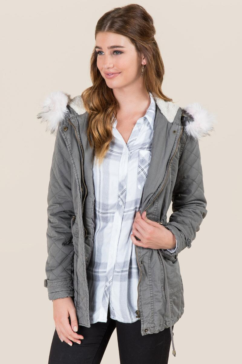 Letty Quilted Sherpa Lining Hooded Anorak