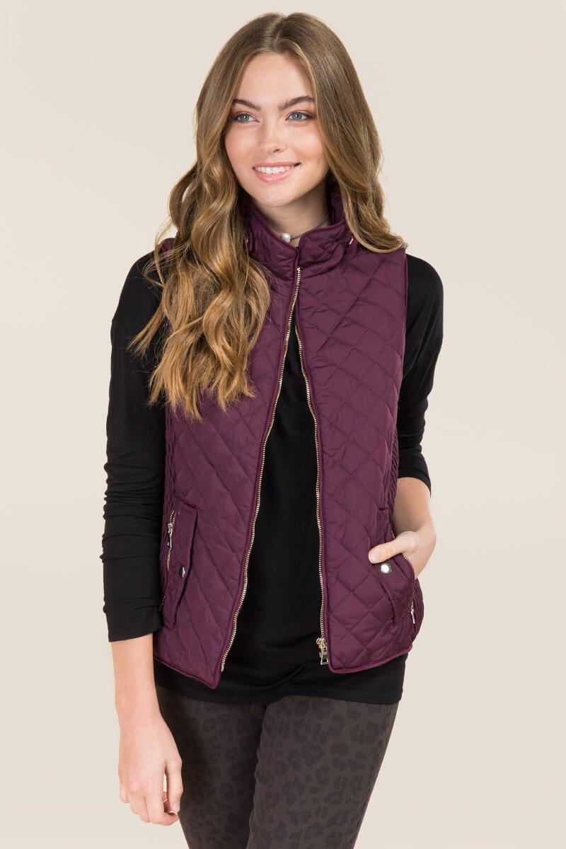 Kiara Snap Collar Quilted Puffer Vest