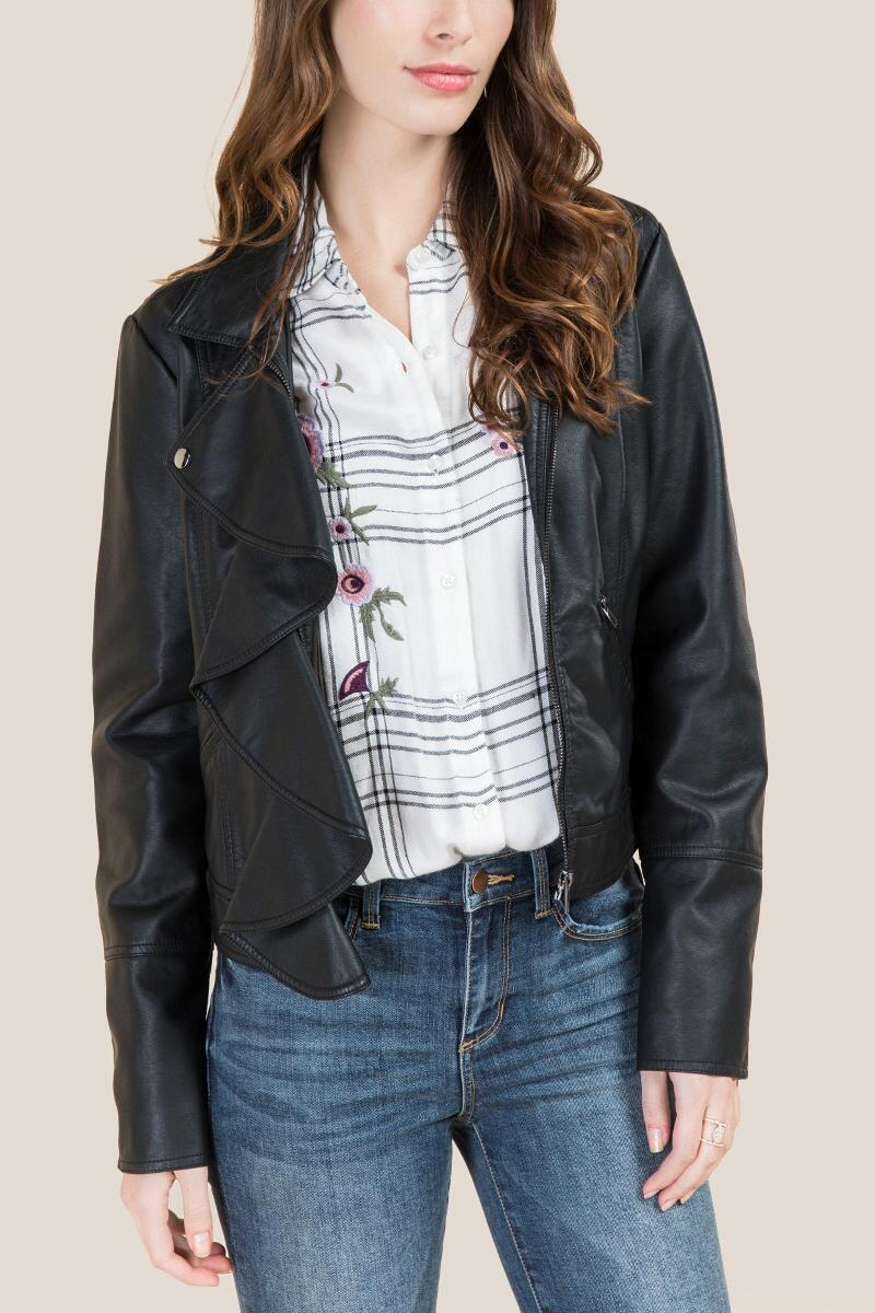 Hadleigh Ruffle Front Moto Jacket-  blk-cl