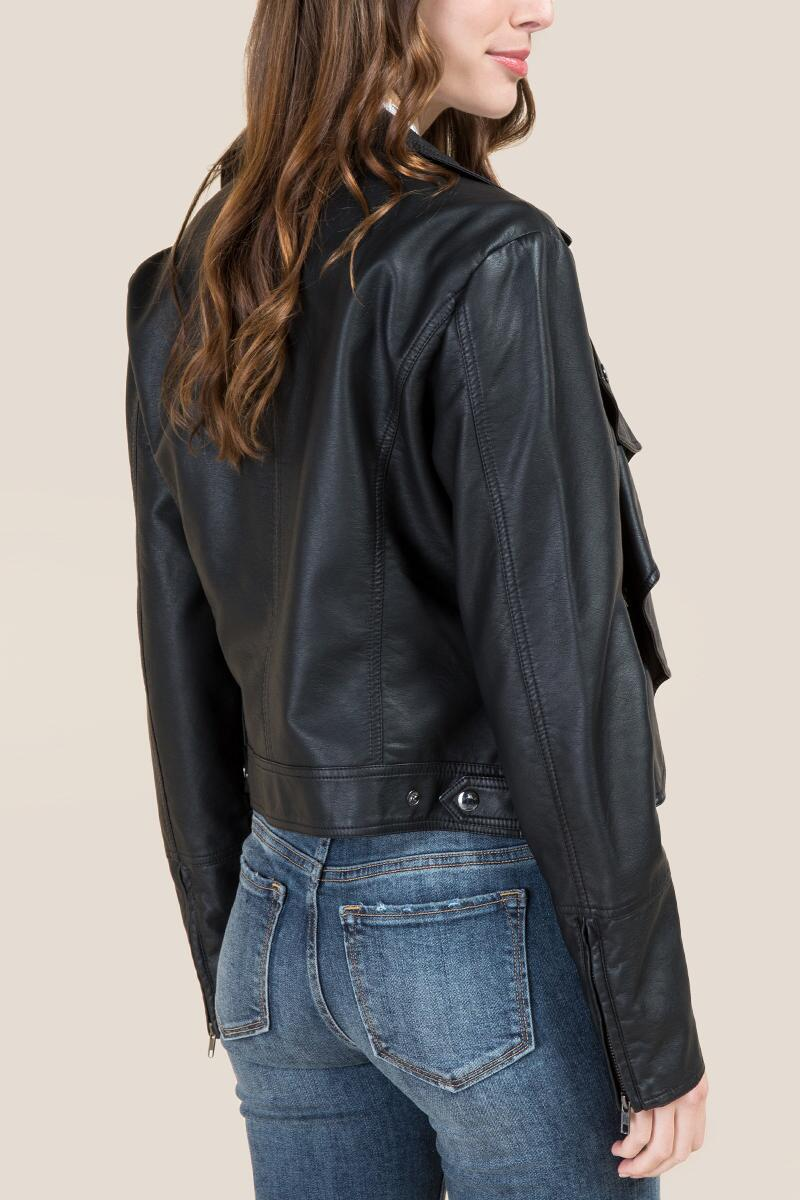 Hadleigh Ruffle Front Moto Jacket-  blk-clback