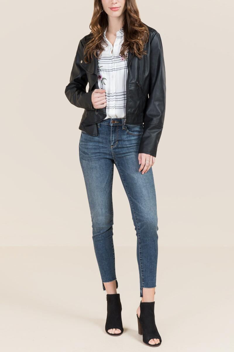 Hadleigh Ruffle Front Moto Jacket-  blk-clmodel