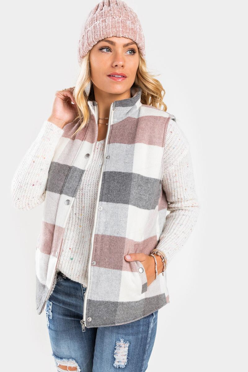 Alice Plaid Zip Front Vest