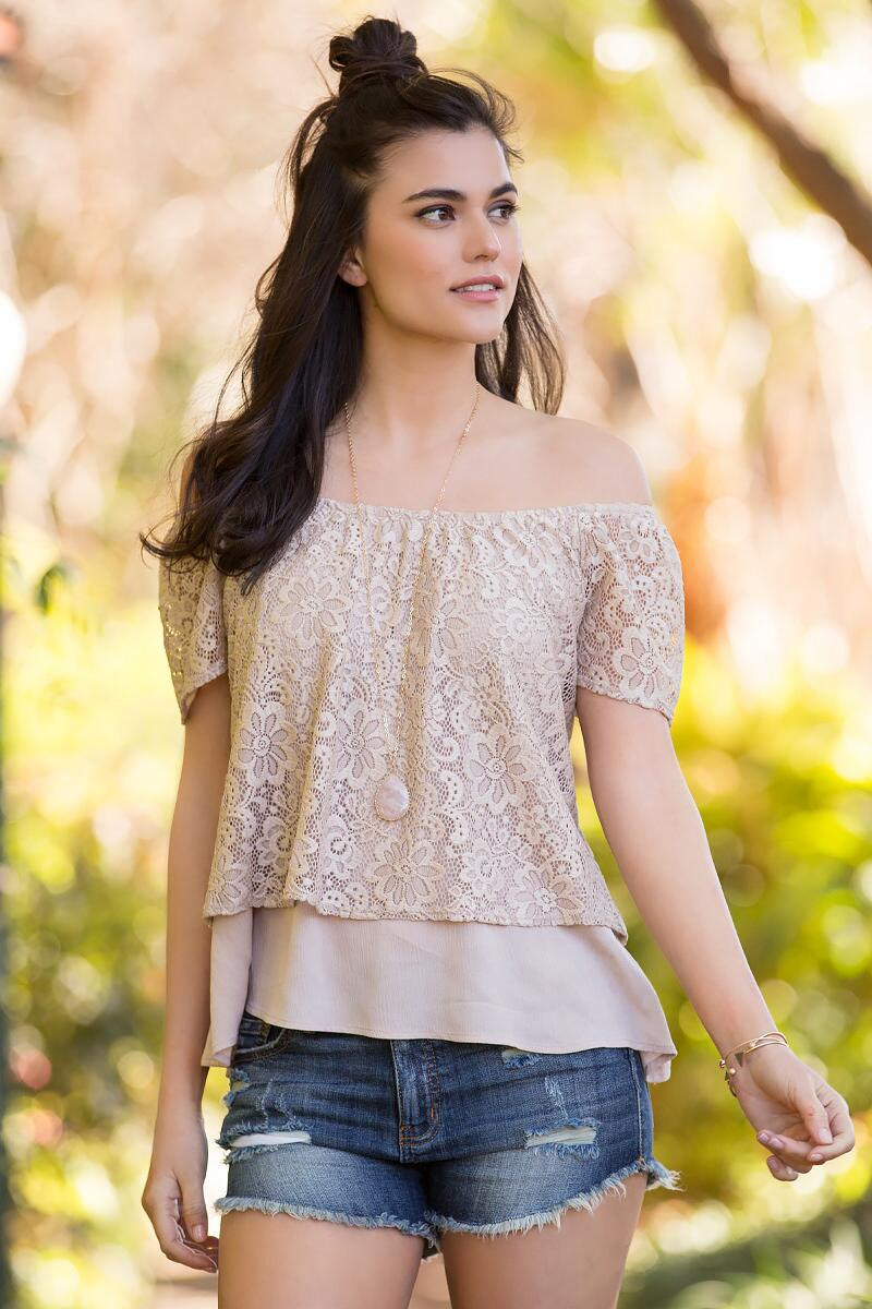 Dayna Lace Off-The-Shoulder Blouse-  taup-cl