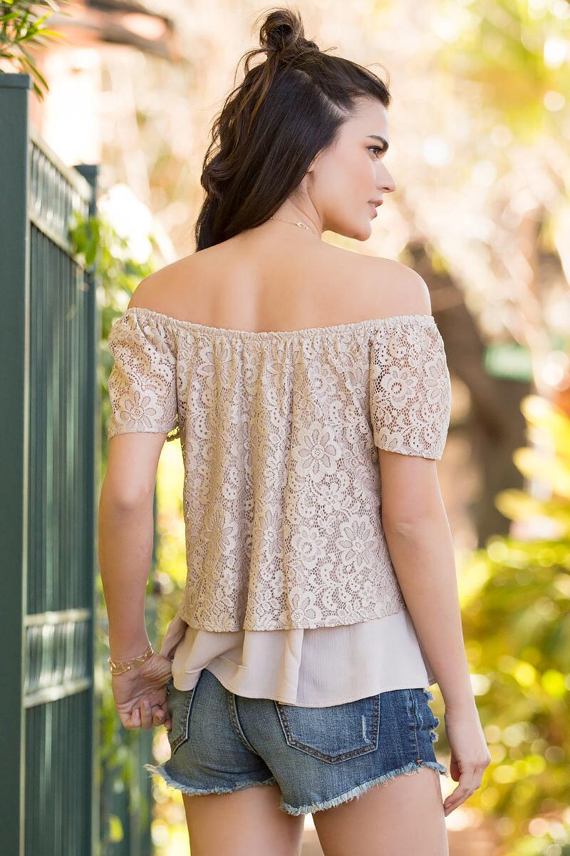 Dayna Lace Off-The-Shoulder Blouse-  taup-clback