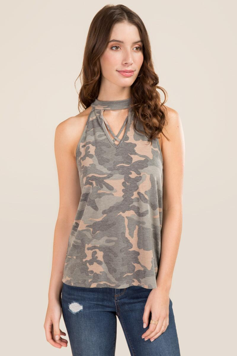 Bertha Gigi X Neck Camo Knit Tank