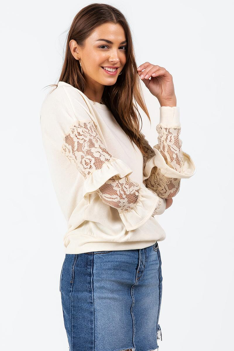 Wanda Tiered Lace Top-  ivry-cl