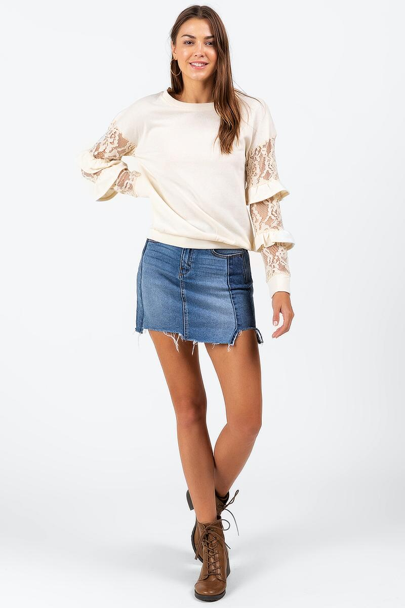 Wanda Tiered Lace Top-  ivry-cl2