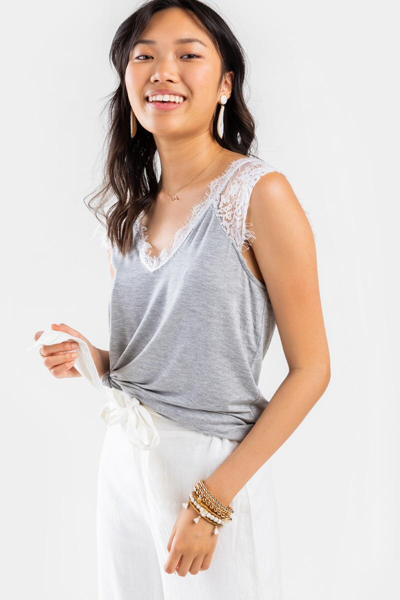 Bella V-Neck Lace Top- Heather Gray