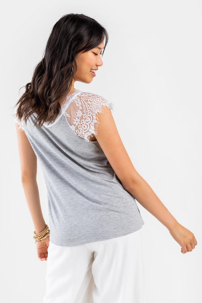 Bella V-Neck Lace Top- Heather Gray 3
