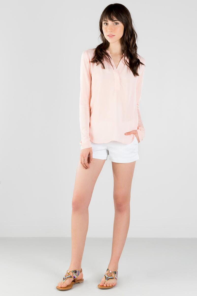 Brentwood Solid Blouse-  blush-clmodel