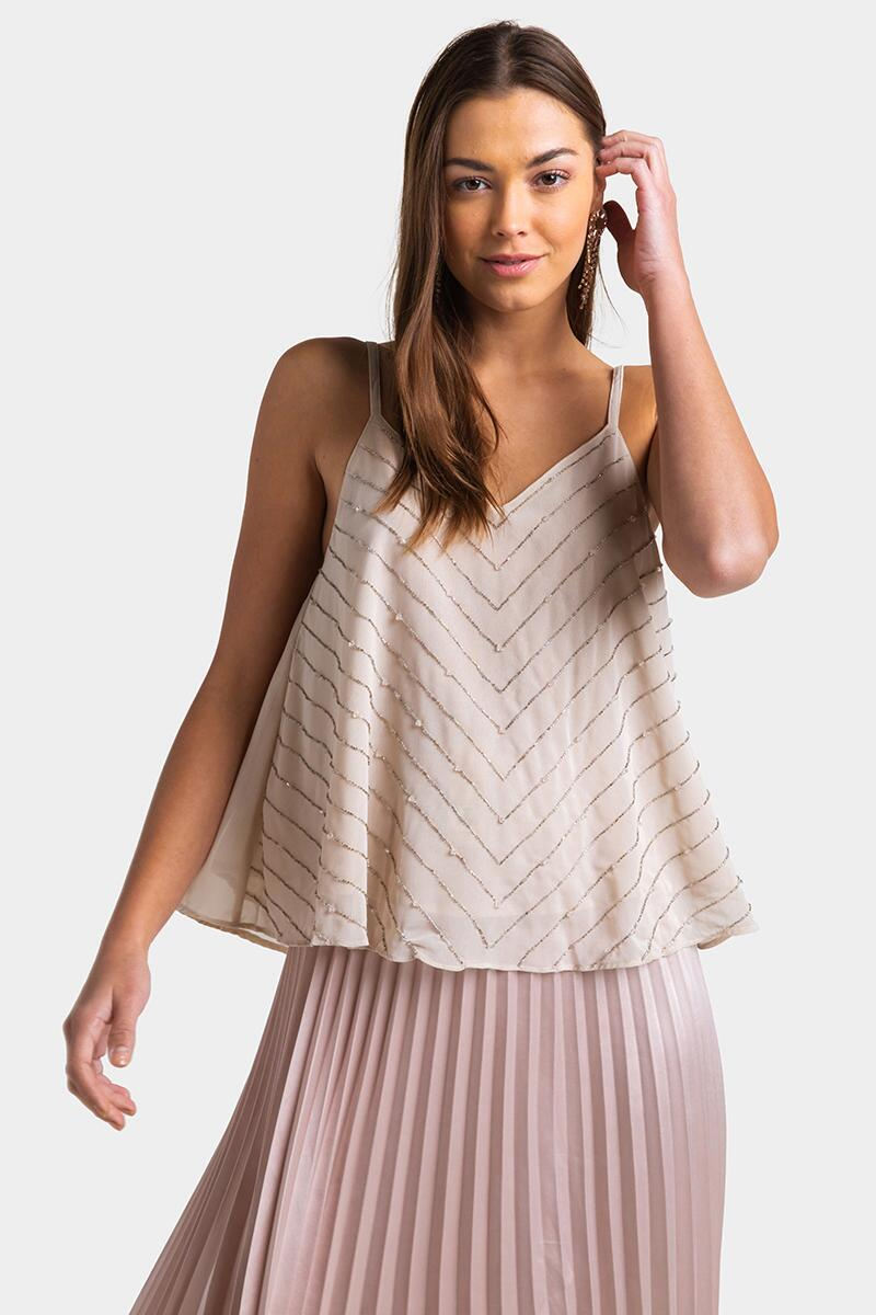 Jaylah Metallic Chevron Tank Top- Blush