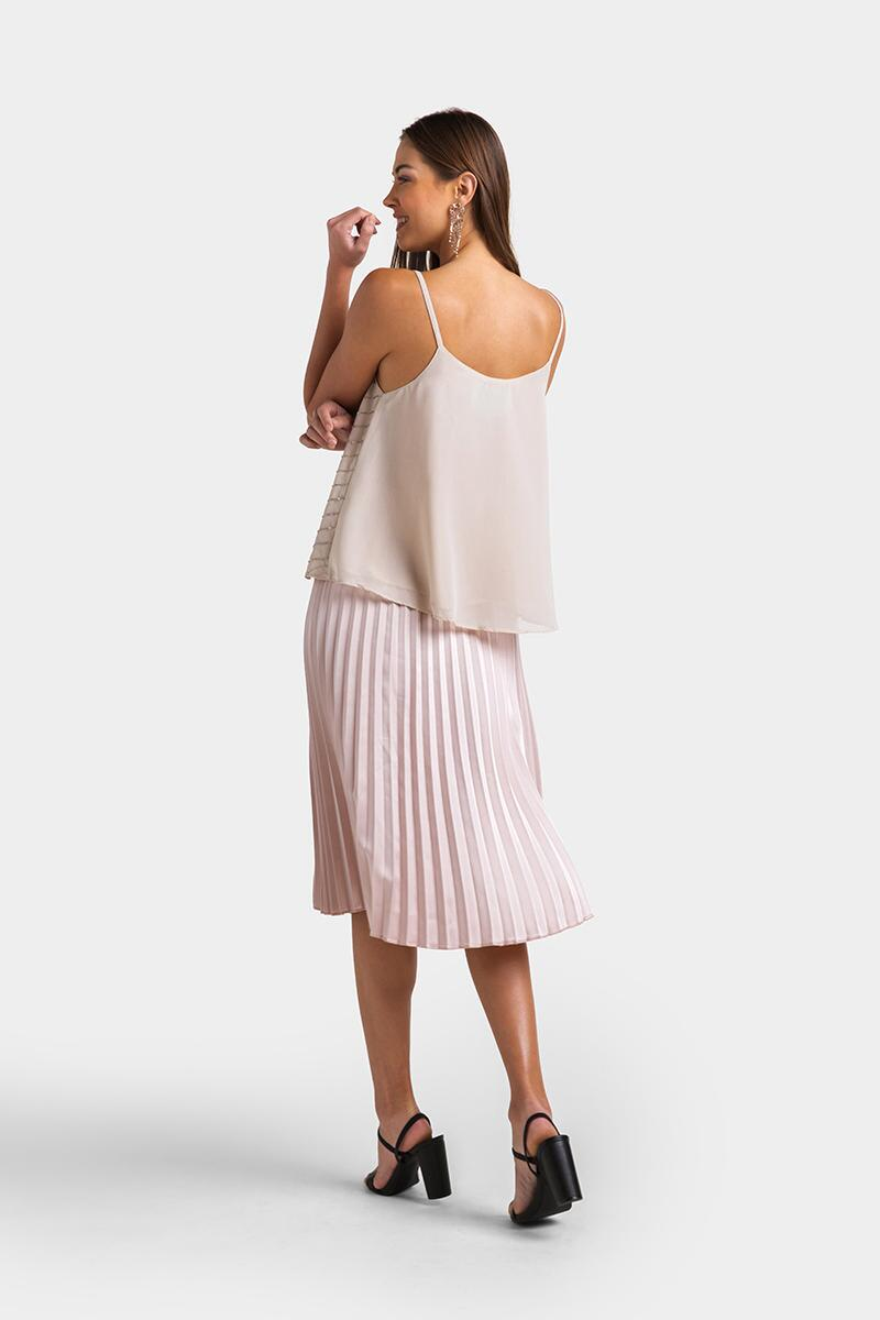Jaylah Metallic Chevron Tank Top- Blush 2