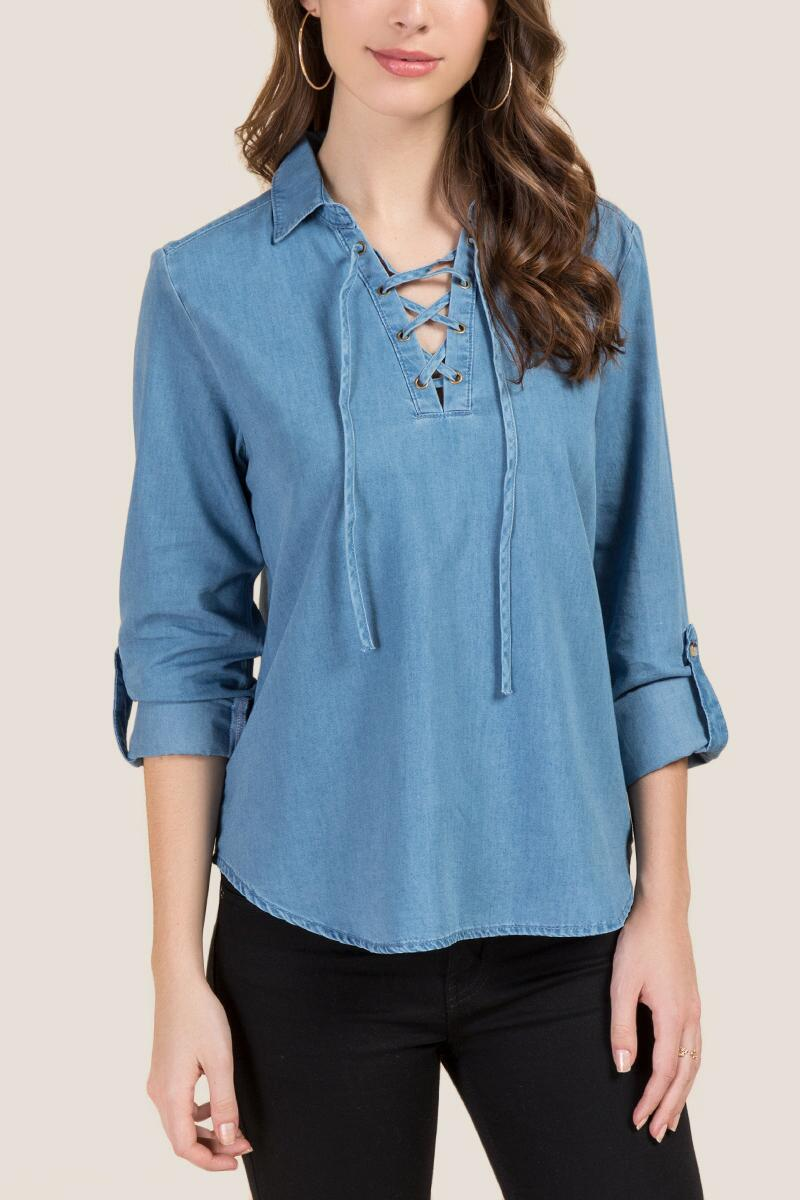 Julia Lace Up Tab Sleeve Top