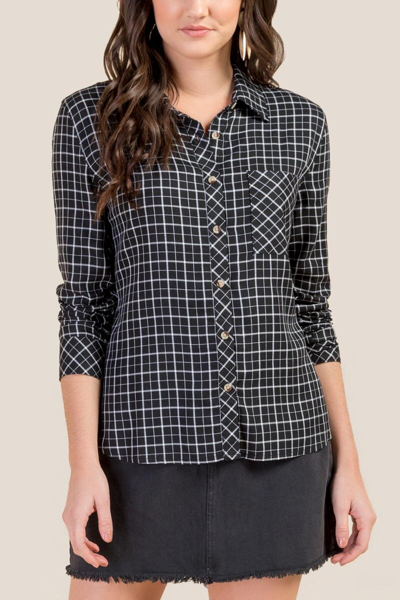 Kelsey Classic Plaid Button Down Top- Black