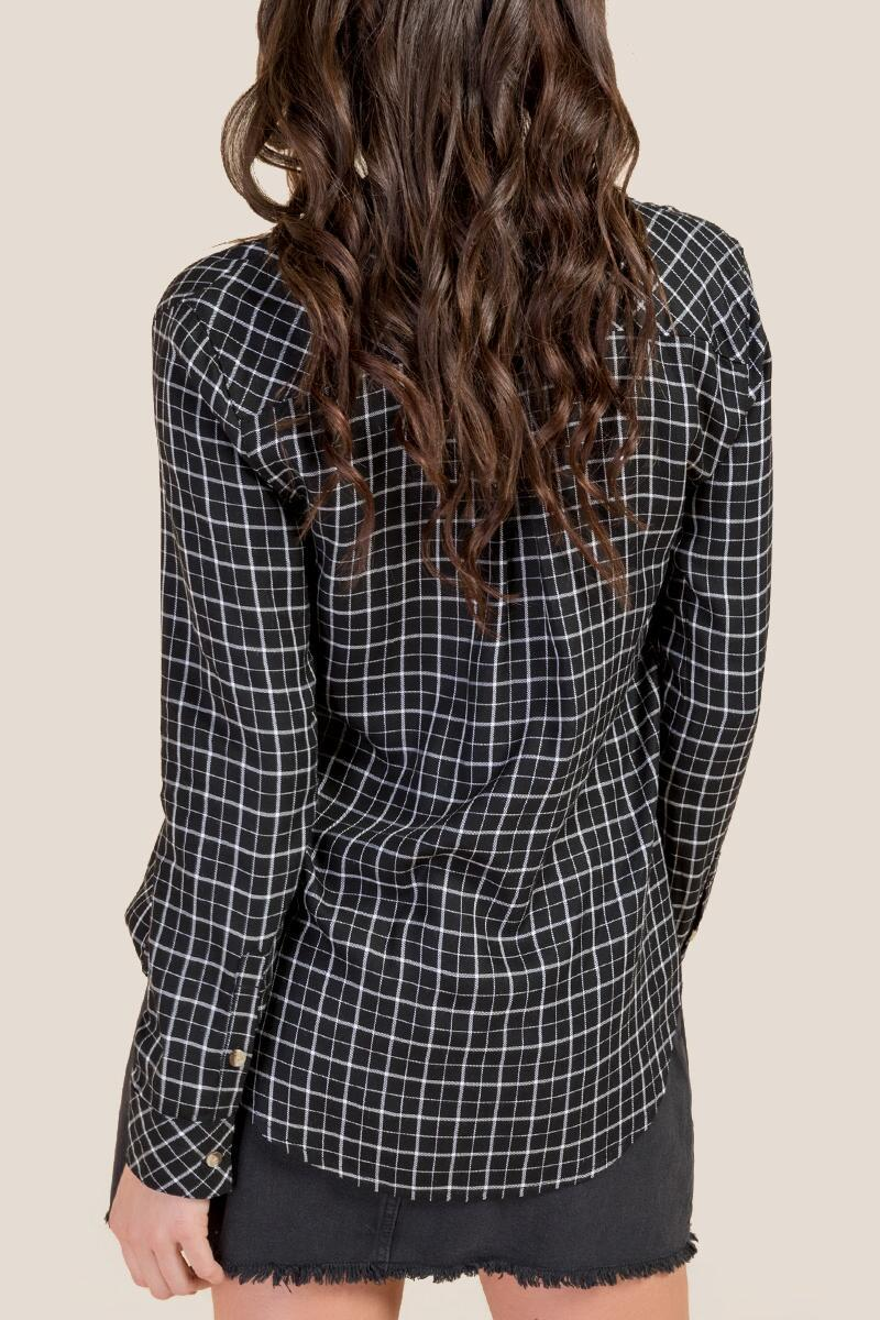 Kelsey Classic Plaid Button Down Top- Black 2